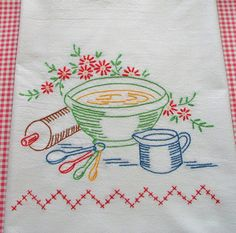 Hand Embroidered Dishtowel by ExuberantHousewifery on Etsy, $9.00