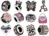 awesome Timeline Trinketts Rhinestone Birthstone Starter Charm Bracelet Beads Fits Pandora Jewelry European Style FREE Bead – October Rose Pink