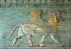 """The fabulous griffin figure evolved out of a long pictorial tradition of fantastic animals. On the Ishtar Gate of Babylon, there is a depiction of the Mushhushshu, a long-necked quadruped with the head and scaly body of a snake. This was the emblem of M Persian Empire Map, Gate Of Babylon, Manga Tattoo, Achaemenid, Ancient Persian, Ancient Near East, Ancient Mesopotamia, Exotic Art, Susa"