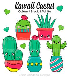 This cute kawaii cactus clipart set includes everything you see in the images PLUS two digital cactus papers. The cacti are excellent for posters, products, stickers, calendars, colouring books and more. You will receive 15 elements in one zip file. Cactus Drawing, Cactus Art, Cactus Flower, Flower Bookey, Flower Film, Cactus Plants, Flower Pots, Diy Kawaii, Kawaii Cute