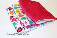 Baby Burp Cloths Minky Pink owls Set of 3 by DarlenesNeedlesnPins