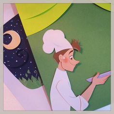 Another boulanger! Only a few more pages and it's all finished! #paperart #illustration #girlsinanimation #boulangerie