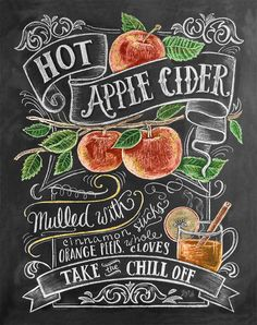 Perfect Gift Fall Chalkboard Print- Hot Apple Cider,Fall Kitchen, Autumn Print Decor, Chalkboard Illustration,Gift for Housewarming Chalkboard Lettering, Chalkboard Designs, Chalkboard Ideas, Fall Chalkboard Art, Chalkboard Window, Blackboard Menu, Chalkboard Sayings, Chalkboard Writing, Kitchen Chalkboard