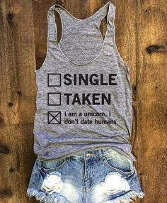 I am a Unicorn I don't Date Humans..Funny Tank Yoga by everfitte