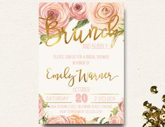 Spring Bridal Shower Invitation Brunch Champagne Bubbly Roses Floral Gold Pink Pressed Flowers by DesignOnPaper on Etsy https://www.etsy.com/listing/267506919/spring-bridal-shower-invitation-brunch