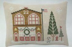 Town Firehouse Christmas Cross Stitched Mini by luvinstitchin4u