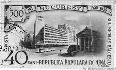 Un timbru dintr-o serie din 1959 ce sărbătorea aniversarea de 500 de ani a Bucureştiului. În imagine putem admira Muzeul Simu şi Blocul Aro.