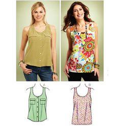 K3848 Tank Tops Kwik Sew Patterns, Mccalls Patterns, Clothing Patterns, Blouse Patterns, Stylish Shirts, Sewing Clothes, Diy Clothes, Tank Tops, Sewing Projects