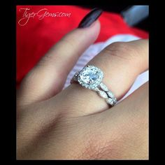 """""""I absolutely love my ring set, so gorgeous! They are very comfortable and look extremely similar to an authentic diamond ring. Pictures don't to these rings any justice. I couldn't have been any more satisfied with my purchase."""" 💌 Thank you so much to our client for this review and photo of her 1.25 ctw art deco halo set. ━💍━  Shop Now at TigerGems.com"""