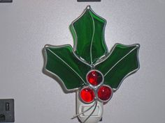 Holly Night light  Holly Nightlight  Stained Glass by glassbypat, $25.00