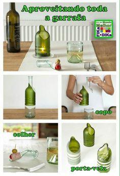 Reciclagem de garrafa de vidro