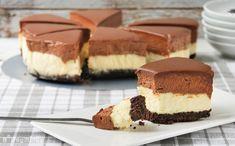 Tarta de queso y mousse de chocolate