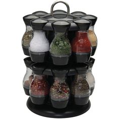 Apollo 16-Jar 2-Tier Plastic Spice Carousel (65 AUD) ❤ liked on Polyvore featuring home, kitchen & dining, food storage containers, 2 tier spice rack, spice carousel, plastic spice rack, plastic jars and two tier spice rack