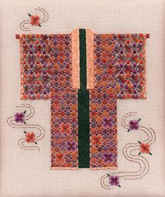 Two-Handed Stitcher: More Fall Color. Needlepoint Designs, Needlepoint Canvases, Blog Banner, Kimono Pattern, Miniature Quilts, Bargello, Textile Art, Cross Stitch Embroidery, Needlework