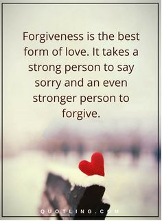 forgiveness quotes forgiveness is the best form of love. It takes a strong person to say sorry and an even stronger person to forgive.