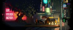 Screenshot from The Last Night game, they want to revive cinematic platformers like Another World. YES