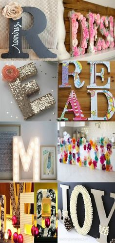 Best DIY Decorative Letters with Lots of Tutorials, DIY and Crafts, Best DIY Decorative Letters with Lots of Tutorials. Decorative letters are prefect for your dorm, apartment, bedroom or living room decor or anywh. Easy Crafts To Make, Crafts To Sell, Diy And Crafts, Crafts For Kids, Easy Diy, Paper Crafts, Cardboard Letters, Wood Letters, Diy Tumblr