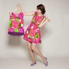 Matched Set! 1960s Pink Floral Dress & Top #vintage #megandraper #floral #madmen #fringe #dropwaist @Etsy