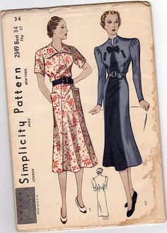 Vintage sewing pattern to make a dress with inset graduated panel, pointed or shaped collar, long or short set-in sleeves, slightly flared skirt and patch or welt pockets. Condition This is an origina Vintage Dress Patterns, Dress Sewing Patterns, Clothing Patterns, Pattern Dress, Vintage Outfits, Vintage Costumes, Vintage Dresses, 1930s Fashion, Retro Fashion