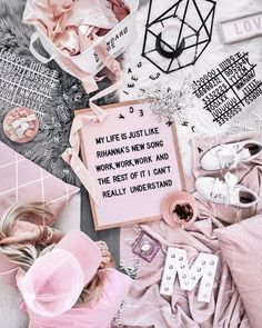 via Flatlay Style Pink Love, Pretty In Pink, Pastel Pink, Blush Pink, Flat Lay Inspiration, Layout Inspiration, Tout Rose, Felt Letters, Beauty Products