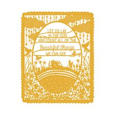 """Lay in the Sun - Print of Original Papercut Illustration - 5x7"""" Fine Art Print - Available in either Yellow, Coral, or Aqua! by SarahTrumbauer on Etsy."""
