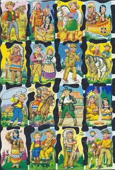 Mamelok English Scrap Die Cut Precious Children As Cowboys amp Indians 1431 Vintage Baby Pictures, Comics Vintage, Look At My, Cowboys And Indians, Precious Children, Vintage Paper Dolls, Paper Toys, Children's Book Illustration, Old Toys