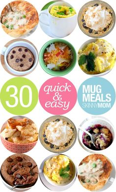 Recipes You Can Make in A Mug Quick desserts and entrees that dirty few dishes! Delicious meals you can make in a mug.Quick desserts and entrees that dirty few dishes! Delicious meals you can make in a mug. Healthy Snacks, Healthy Eating, Healthy Recipes, Protein Snacks, Healthy Breakfasts, Simple Recipes, High Protein, Microwave Mug Recipes, Eggs In Microwave