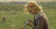 Virginie Demont reton Girl making flower garland in the fields detail Van Gogh, Jules Breton, World's Columbian Exposition, Palace Of Fine Arts, Historical Monuments, Out To Sea, Impressionist Paintings, Claude Monet, Rose