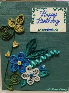 My Recent Quilling project - A Quilled card for my Mom's birthday with a message or photo holder.