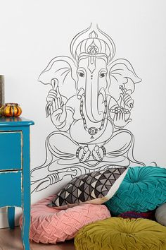 Fun #yoga entry... corner nook... future playroom with #Ganesha Wall Decal  #UrbanOutfitters (Little update on this... not sure if the decal sticker is still available to buy, but it should be! If not, at least you have some inspiration to DIY draw it yourself!)