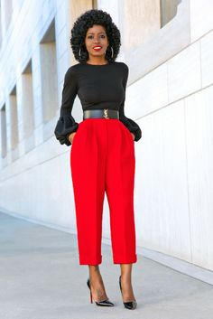 62a38bb35 Bell Sleeve Top + Cropped Pleated Tappered Pants | Style Pantry | Bell  Sleeve Top,