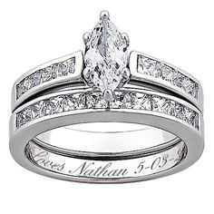 MBM Sterling Silver Marquise Engraved Wedding Ring Set