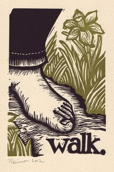 walk   A linocut print on Arches cream paper by peternevins, $25.00
