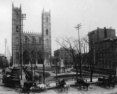 Place d'Armes, vers (Source: Musée McCord Museum) Quebec Montreal, Montreal Ville, Notre Dame Basilica, Grand Hotel, Far Away, Tower Bridge, Vintage Photography, Old Photos, Images