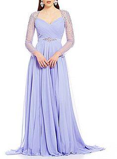 Terani Couture Sweatheart Neck Long Beaded Sleeve Chiffon Gown at Dillard's #affiliatelink