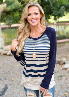 Long Sleeve Striped Top Oat/Navy, Modern Vintage Boutique, ShopMVB, Long Sleeve Top, Fashion, Style