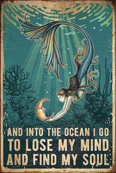 Yoga Studio Design, Lose My Mind, Mermaid Art, Mermaid Poster, Mermaid Beach, Losing Me, Wow Art, Under The Sea, Mindfulness