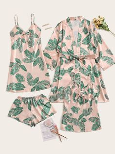Check out this Tropical Print Satin Pajama Set With Robe on Shein and explore more to meet your fashion needs! Cute Pajama Sets, Cute Pajamas, Satin Pyjama Set, Satin Pajamas, Cotton Pyjamas, Night Outfits, Fashion Outfits, Steampunk Fashion, Gothic Fashion