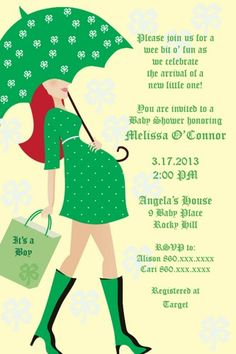 Printable St. Patrick's theme baby shower invitation with red hair. High resolution digital jpeg will be sent directly to your email. After purchase, pay through paypal and email wording for invitatio