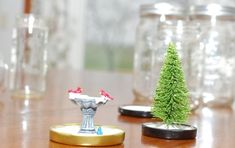 crafting a homemade snow globe plastic ornaments