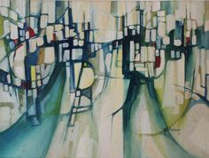 1970 original abstract cityscape in pleasant green and teal tones with rainbow-hued pops of color .   By accomplished artist Wendell H. Arneson, this early work is on watercolor paper and is not framed.