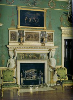 The Brimstone Butterfly: Spencer House : Painted Room fireplace