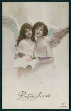 alluring teenager girls Angel fantasy original old 1910s photo postcard