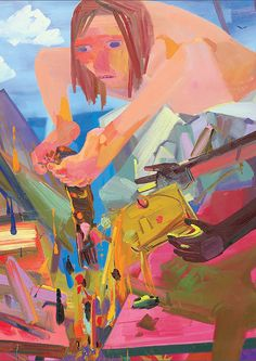"Dana Schutz b. 1976, Reformers, 2004 oil on canvas, 75 1/16 x 91 1/16 in. (190.7 x 231.3 cm.) Signed and dated ""Dana Schutz 2004"" on the reverse."