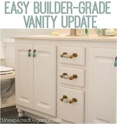 If you have a builder grade vanity, here's an EASY way to update it and save a ton of money!!  It will completely change the look!