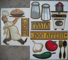 FAT CHEF ITALIAN BISTRO KITCHEN DECALS STICKERS | eBay Bistro Kitchen, Chef Kitchen Decor, Kitchen Art, Vinyl Art, Vinyl Wall Decals, Italian Bistro, Kitchen Decals, Italian Party, I Chef