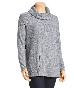 Another great find on #zulily! Gray & Black Cowl-Neck Top - Plus by Allie & Rob #zulilyfinds
