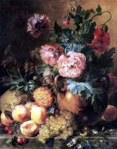 artist cornelis van spaendonck   Cornelis van Spaendonck - Flower still life with fruits