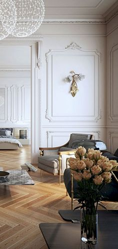 When you need a different interior design from another home, you can use a traditional style. It doesn't mean you will get an old home. This awesome room style will give you a lot of advantages. French Interior, Classic Interior, Modern Interior Design, Home Design, Interior Architecture, Design Ideas, Neoclassical Interior Design, Design Interiors, Modern Interiors