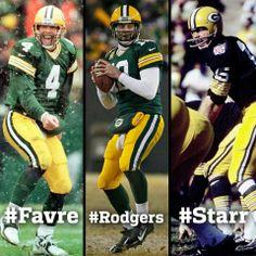 #4 #12 #15 LEGENDS.---Favre, Rodgers, Starr